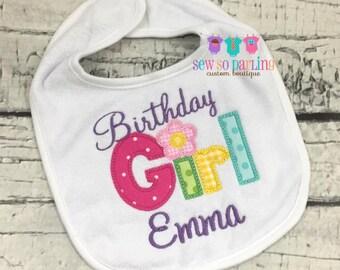 Birthday Girl Bib - Girl 1st Birthday Bib - Birthday Girl Bib - First Birthday personalized bib - Birthday Girl Bibs