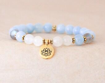 Aquamarine Mala Bracelet, Wrist Mala Beads, Lotus Bracelet, Moonstone, Labradorite, Spiritual Jewelry - Healing, Yoga, Meditation