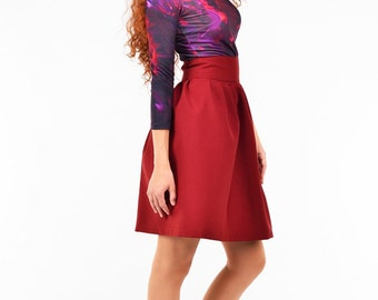 Burgundy pleated mini skirts. Dark red full skirts with pleats