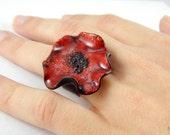 Red poppy ring, christmas gift, clay poppy, big poppy, faux ceramic poppy, poppy jewelry, oversized ring, red black ring, copper ring