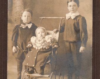 Antique Photo of Three Cute Siblings