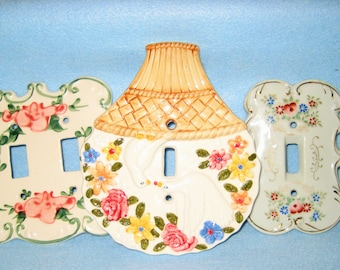 Trio Ceramic Switch Plates-Shabby Chic Floral Design