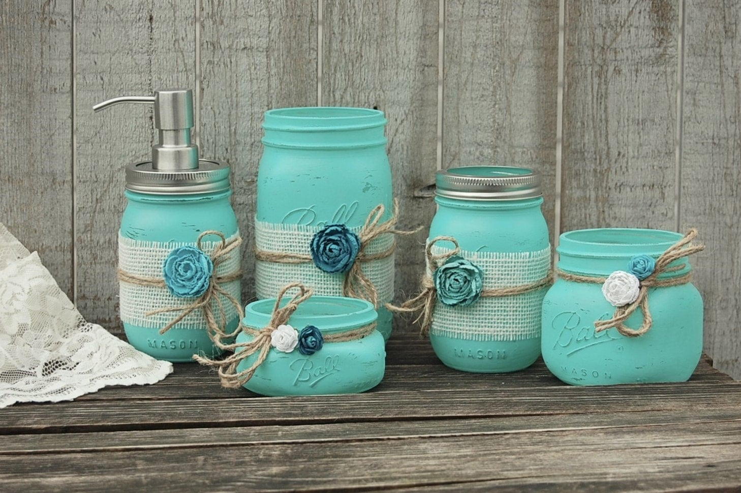 Mason Jar Soap Pump Turquoise Blue Set Rustic Bathroom