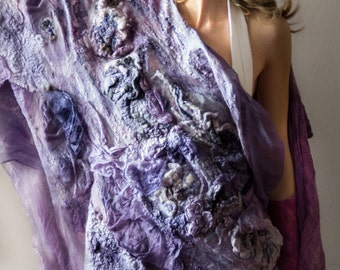 RESERVED DreamOfAMayNight OOAK nuno felt shawl, silk, wool, fabric manipulation, natural dyes, lilac