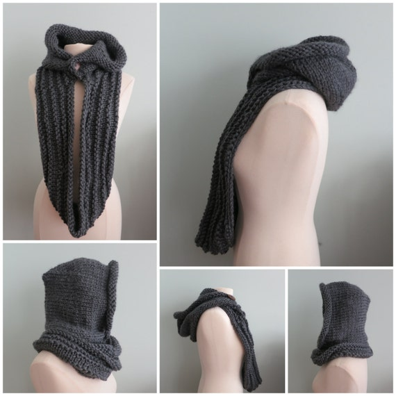 Hoodie Cowl Knitted Hat Winter Hat Knitting Pattern in