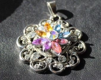 Silver, Snap Button Pendant with White Rhinestones and Gorgeous Multi Color Rhinestone Flower Center, DIY Jewelry