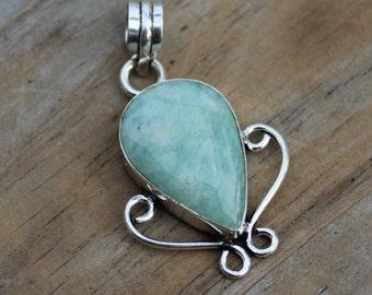 Natural, Amazonite Gemstone, Sterling  Pendant,