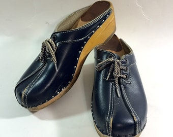 Bastad Original Navy Blue Leather Wooden Clogs Ladies Euro Size 36 Us size 5.5 - 6 made in Sweden
