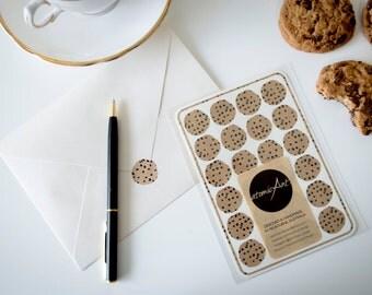 24 Chocolate Chip Cookie Stickers in Kraft - Handmade Envelope Seals - Wedding & Birthday invitations  - Scrapbooking - Childrens Birthdays