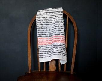 Minimalist Dish Towel - Modern Kitchen Decor - Grey and Coral Linen Kitchen Towel - Scandinavian Modern Housewarming Gift - Hostess Gift
