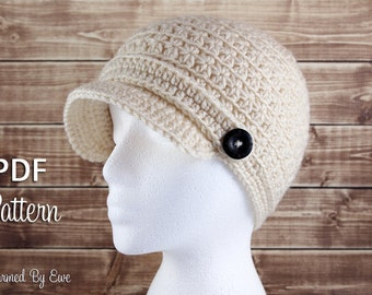 Crochet Pattern PDF - Star Stitch Cap with Visor - Baby to Adult