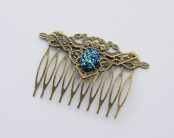 Druzy Hair Comb Druzy Hair Slide Blue Hair Clip Gifts under 20 Something Blue Hair Comb Hair Accessories Cosplay Hair Comb Elven Hair Clip