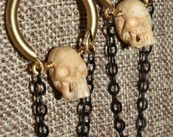 Carved Skull Earrings Dangle Brass Bone Drop Earrings