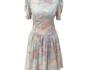 1980s pastel print vintage party dress