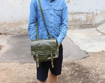 FINAL SALE 50% OFF Waterproof Messenger Bag, Czech Army Vintage Rubberized Cross Body messenger bag