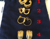 Vintage Earrings -- Four Pairs -- Gold Clip On Earrings -- Costume Jewellery