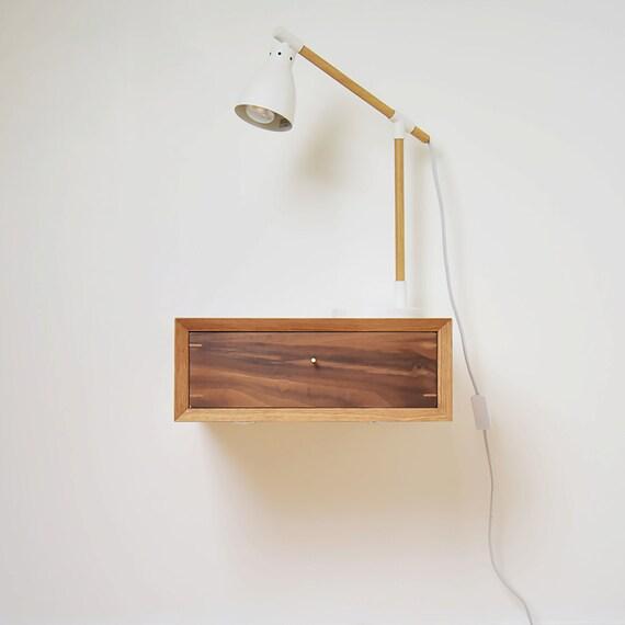 Mid-century Floating Oak Scandinavian Style Night Stand