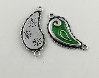 1 paisley connector antique silver and enamel,32mm  #CON009