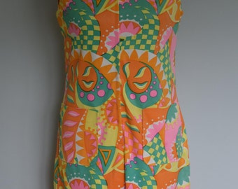 Original Vintage Late 60s Early 70s Playsuit UK 12 Summer Festival Beach Holiday Romper Shorts