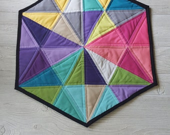 Geometric Quilted Wall Hanging, Hexagon wall art, Wall decor, Colorful wall hanging,