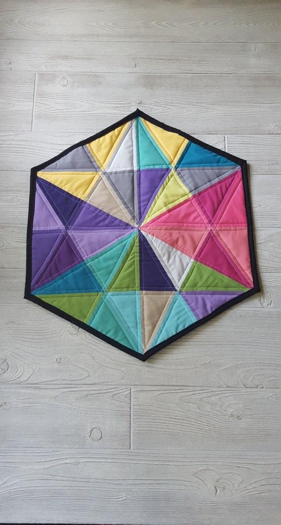 Wall Decor Hexagon : Geometric quilted wall hanging hexagon art decor