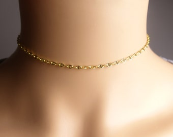 Choker,Sterling silver chain choker necklace,14k gold filled chain choker necklace,gift idea,birthday present