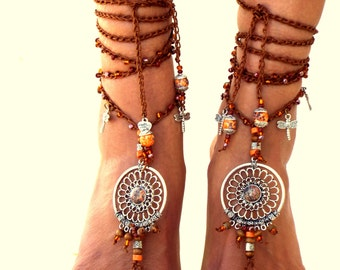 DAPHNE, Barefoot Sandals, gemstones Hippie Sandals, Foot Jewelry,  festival accessories, yoga toe, anklet