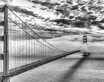 Canvas Print - Free Shipping in the U.S. - Black and White San Francisco Art - Romantic Golden Gate Bridge Black and White Photography
