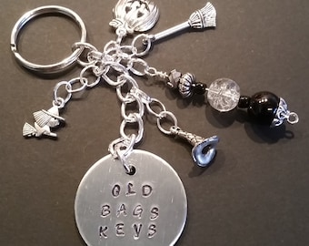 HAND STAMPED FUN Keychain. Witches and Broom Sticks.