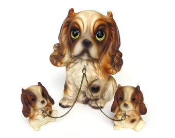 """Big Eyed Chain Dog Family, 5.5"""" Tall Ceramic Spaniel Mom Dog Chained to Two Puppies, Brinn's Japan, Wonderful Mid Century Condition"""