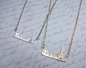 Paris city skyline Eiffel tower necklace gold or silver