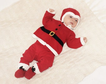 Santa costume for baby knitted Santa outfit christmas baby costume merino baby set Sante Claus baby set MADE TO ORDER