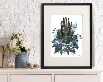 Black Hand Folk art print hand drawing Scandanavian style art black and white decor floral art print floral wall art bedroom art print