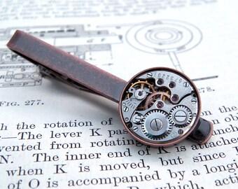 Steampunk Tie Bar / Clip. Vintage Watch Movement. Antique Copper Style Men's Accessories. Gifts For Men.