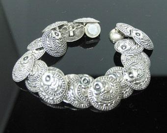 Silver Button Bracelet
