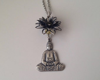 "Antique Silver Filigree Buddha & Lotus Long Necklace for Yoga Lovers by Lauren York Designs - 31"" chain"
