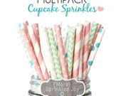 Pretty Paper Straws, CUPCAKE SPRINKLES Multipack, Pink, Mint Aqua, Chevron, Dots, Vintage, 25 Straws, in 5 Designs