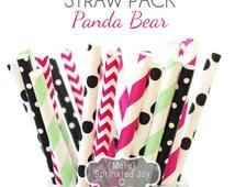 PANDA Multipack, Pink, Black, Chevron, Dots, Mint, Hot Pink, Girl, Pool, Party Decor, Vintage, 25 Straws, Party, Wedding, Birthday, Girl