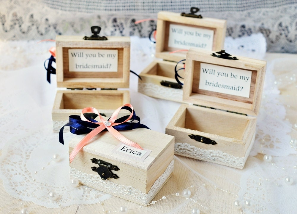 will you be my bridesmaid box maid of honor gift box navy and. Black Bedroom Furniture Sets. Home Design Ideas