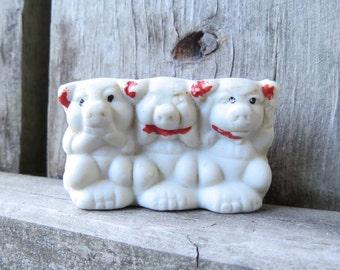 Vintage Bisque Three Little Pigs Speak No Evil See No Evil Hear No Evil Figurine Vintage Japan