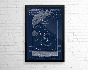 Framed Celestial Print Sky Map January, Star Chart, Constellations Northern Hemisphere, Pole Star