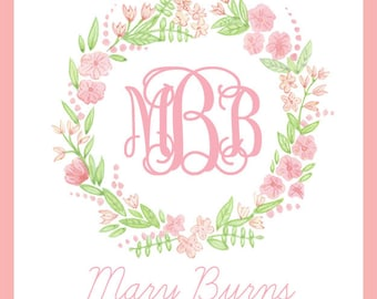 PInk Floral Monogram  Enclosure Cards For Girls