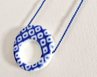 White and Blue Porcelain Pendant with Silk Cord!