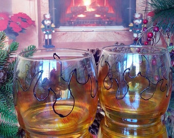 """Set of 2 hand painted whiskey glasses """"On fire"""""""
