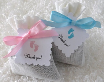 12 French Lavender Sachet Party Favors with Thank you tags, Baby Shower Favors, Choose Pink or Blue