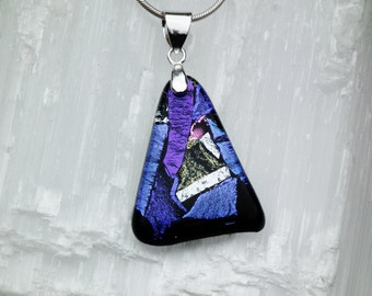 P36- Dichroic glass pendant and sterling silver .925