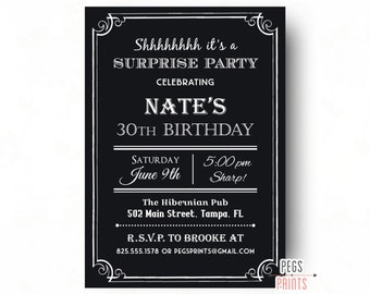 Adult Surprise Birthday Invite - 40th Birthday Invitation for Men (Printable) Surprise Birthday Party Invitations - Black Birthday Invites