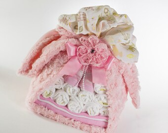 Diaper Bundle - Baby Gift - Baby Girl Diaper Cake - Baby Shower Decor - Baby Shower Gift