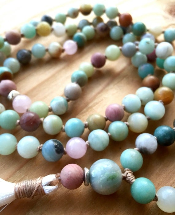 Amazonite Tassel Necklace, 108 Beads, Silk Tassel, Rose Quartz, Rhodonite Mala Beads, Hand Knotted Yoga Jewelry Long Tassel Necklace