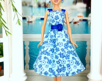 Dress For Barbie Doll - Blue Floral Print Doll Dress with Earrings and Shoes